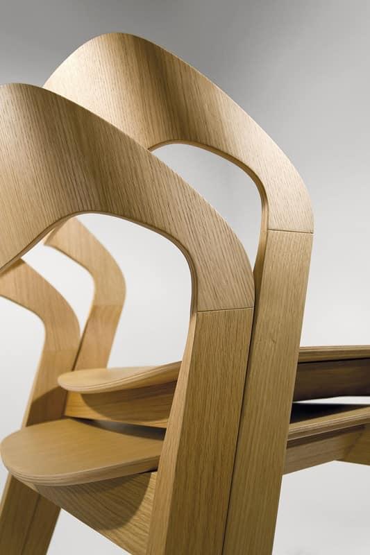 Mixis, Sedia design in legno, impilabile, minimale, per Albergo