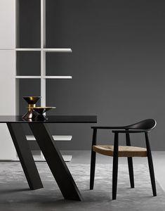 Odyssee, Sedia moderna con seduta in paglia adatta per bar e ambienti residenziali