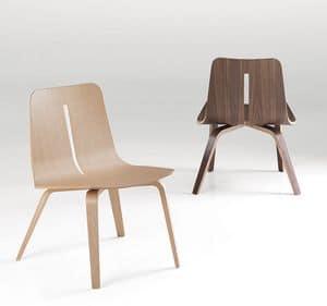 Platone, Sedia in legno design per sale da pranzo moderne