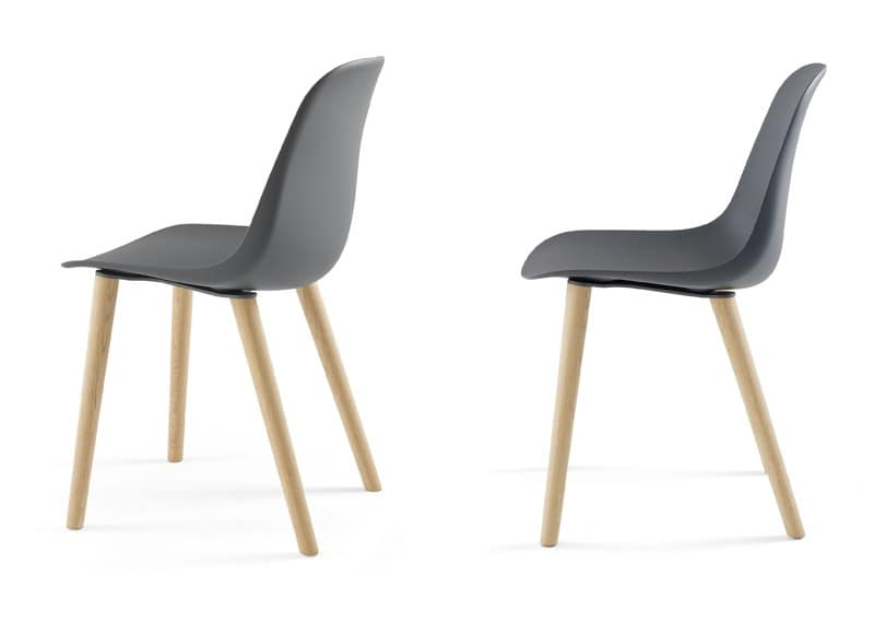 sedia design in legno e in poliuretano per sala pranzo idfdesign. Black Bedroom Furniture Sets. Home Design Ideas