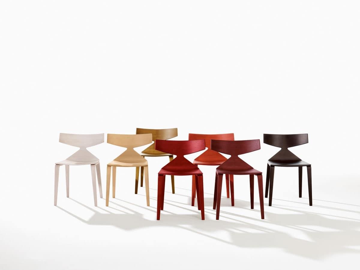 Sedia design con struttura in legno linee dinamiche idfdesign - Sedie in legno design ...