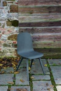 SLIM sedia con base in legno, Sedia con scocca in rovere e gambe in legno