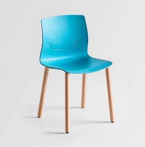 Slot BL, Sedia con gambe in legno di faggio, scocca in polimero