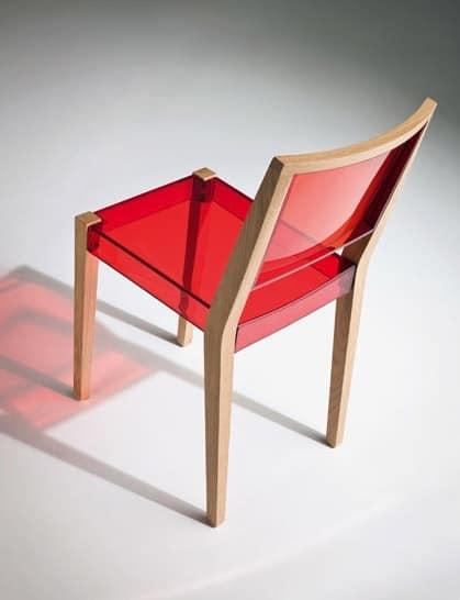 Together sedia, Sedia in legno e termoplastica trasparente, per uso contract