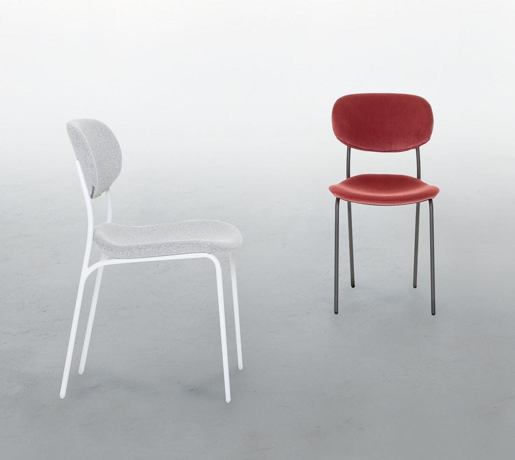 BIKINI, Sedia in metallo laccato, con seduta imbottita