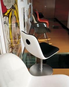 Boum Disc Base, Sedia girevole con base tonda e seduta in plastica rivestita