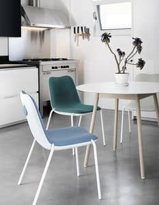 Boum Upholstered, Sedia in alluminio, con scocca in plastica rivestita