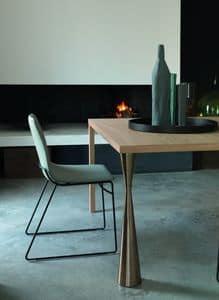 ERGO sedia con base a filo, Sedia design imbottita con base a slitta in tondino