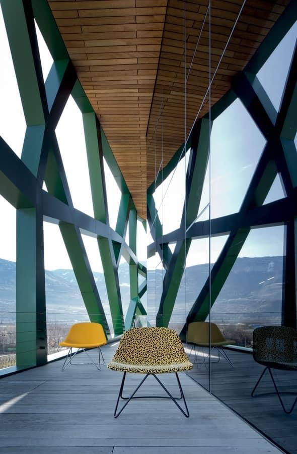 LLOUNGE LL1, Sedia design con struttura in metallo, imbottita in poliuretano