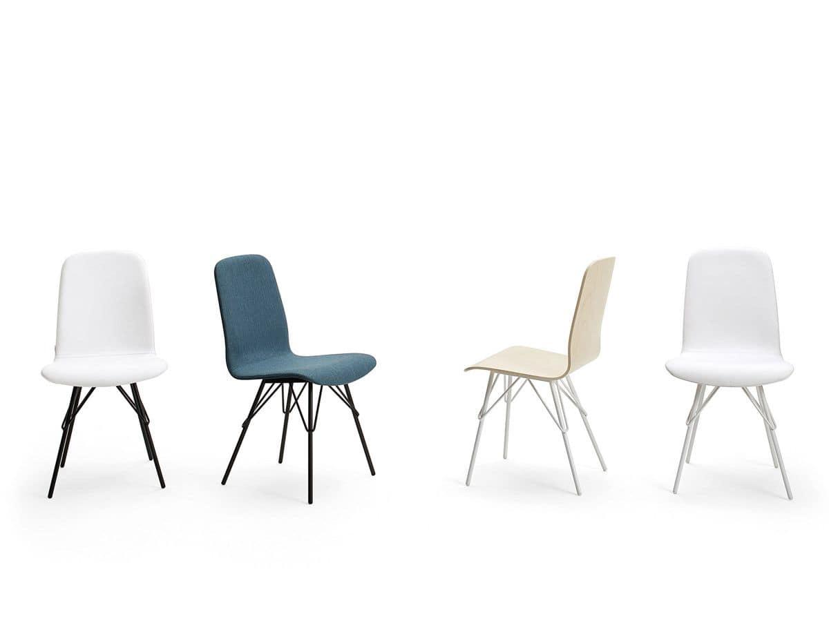 sedie moderne base in acciaio verniciato per bar e casa