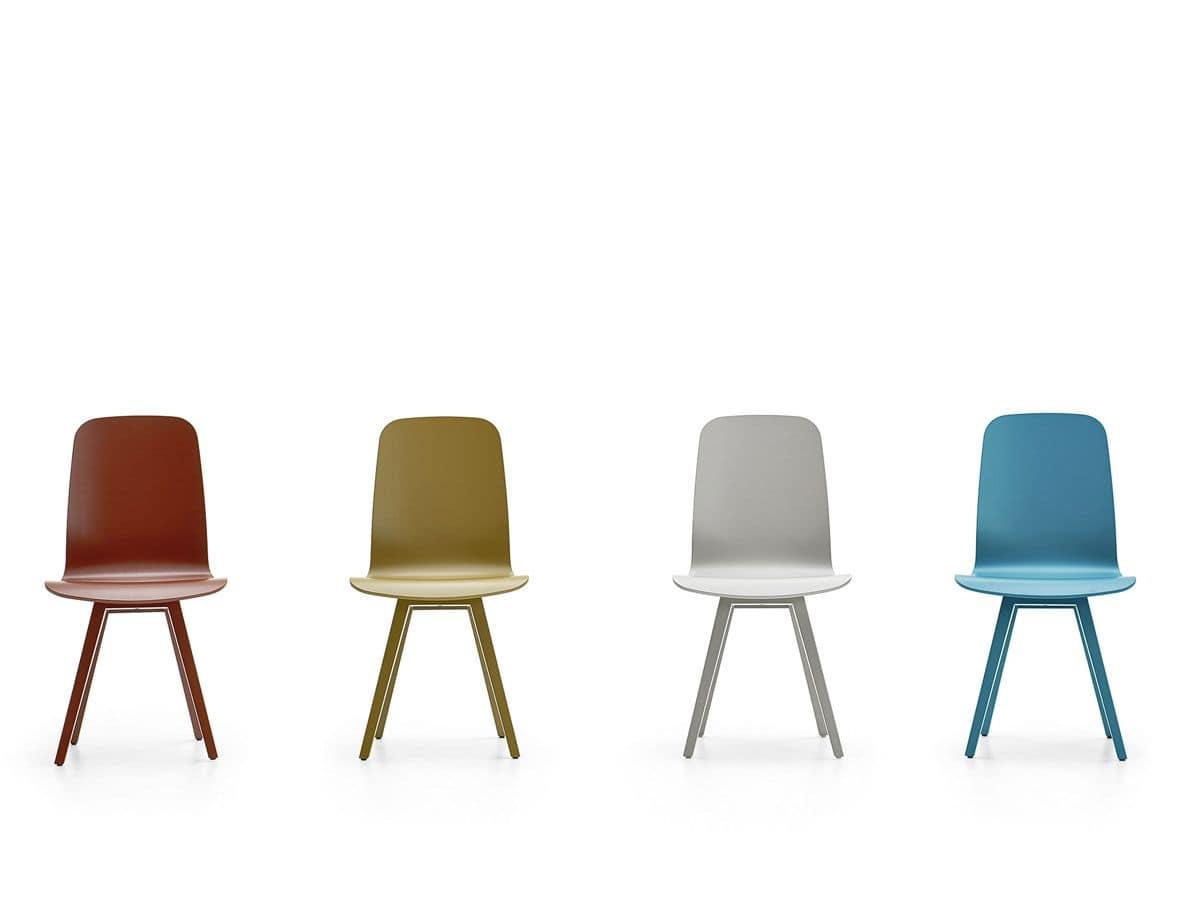 Sedie moderne base in acciaio verniciato per bar e casa for Sedie design metallo