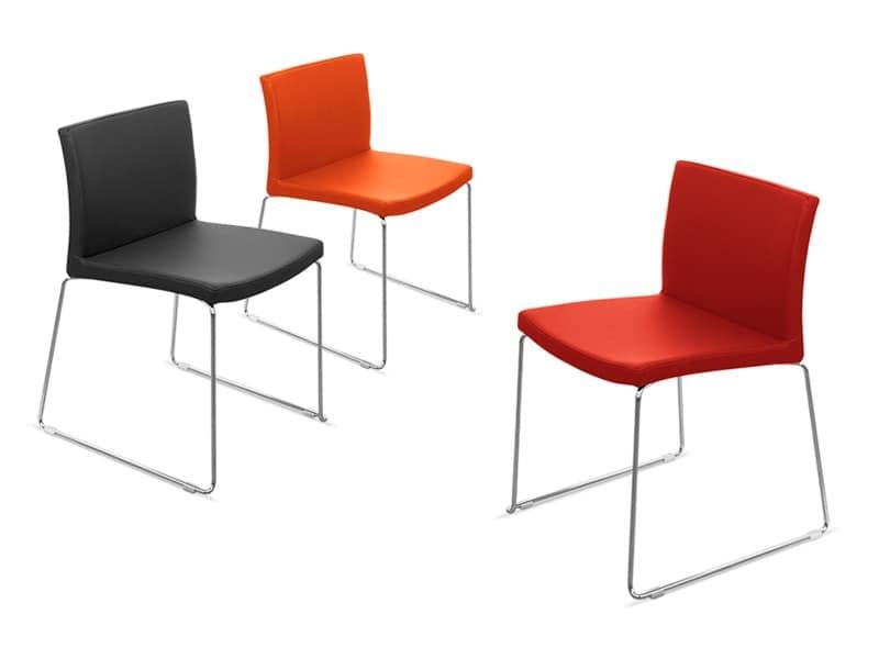 Sedia con scocca in tecnopolimero rivestita in ecopelle for Sedie design imbottite