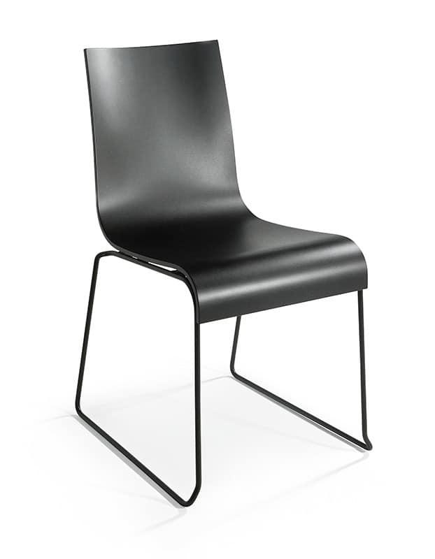 2001 R VS, Sedia impilabile in acciaio cromato, seduta in legno