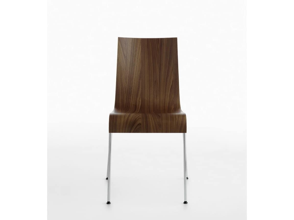 Asia R 4L/VS, Sedia design in acciaio cromato, scocca in legno