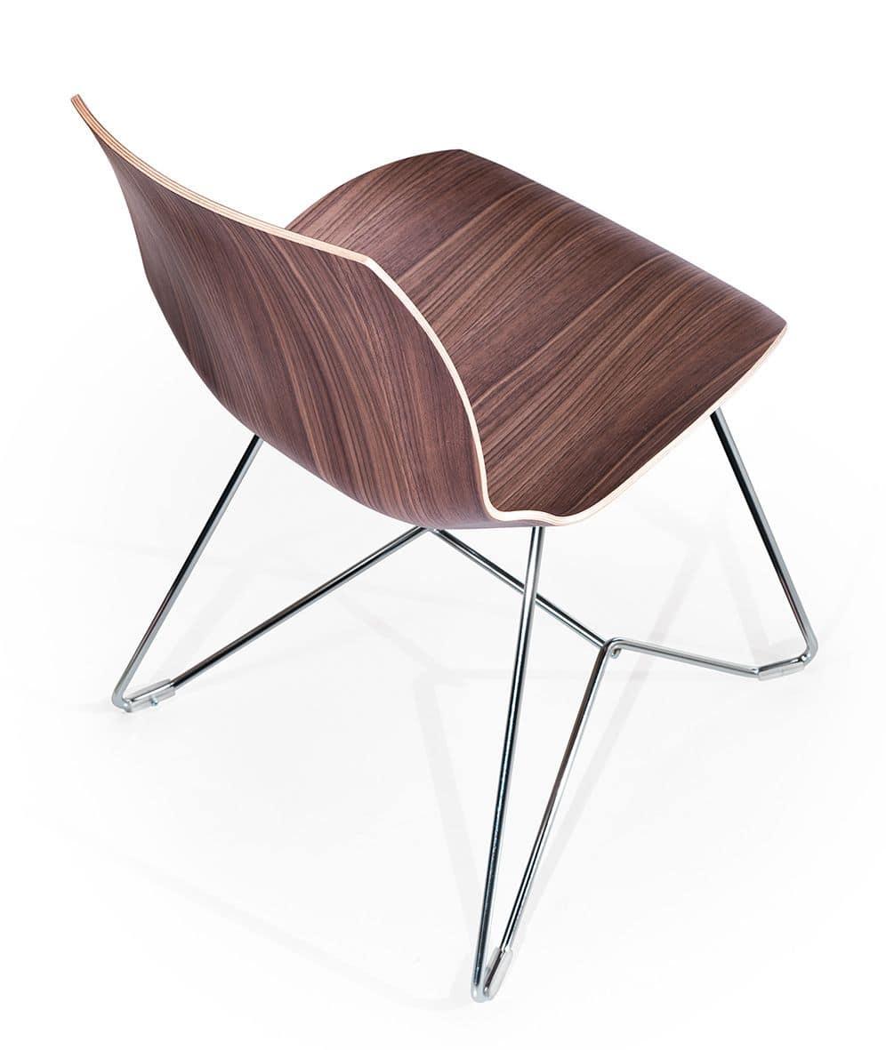 Kaleidos legno, Sedia moderna con scocca in legno e struttura in metallo