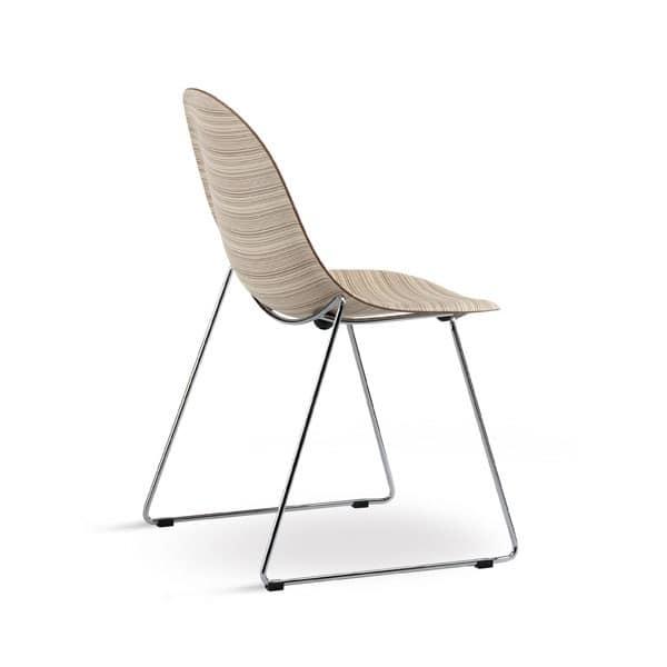 Sedia visitatore di alto design in metallo e multistrato for Sedie design metallo