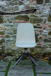 SLIM sedia con base in metallo, Sedia con scocca in rovere e base a 4 razze girevole