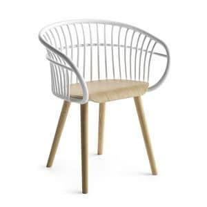 Stem 4W/WS, Sedia design in legno, con schienale in alluminio