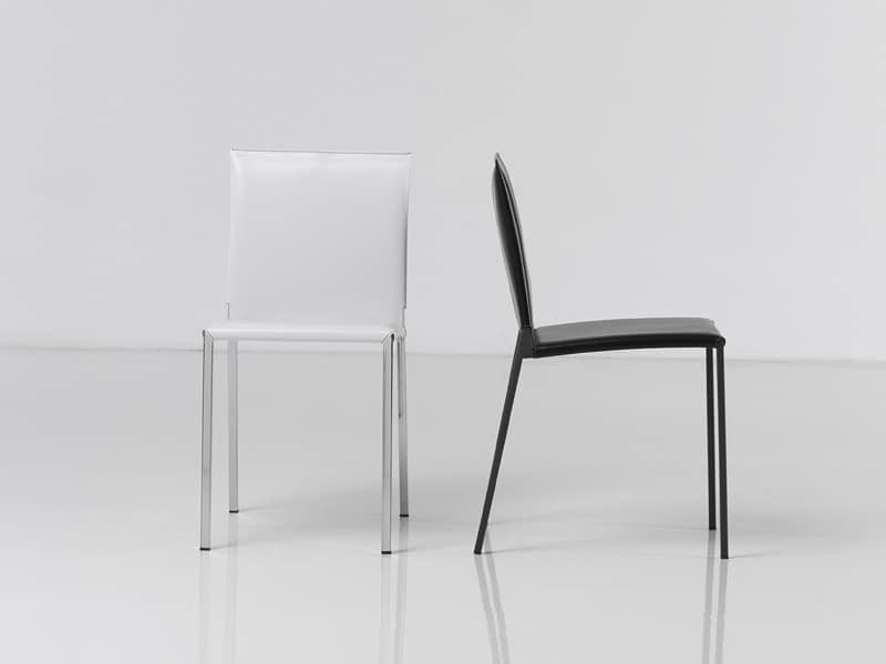 Sedute sedie moderne design metallo pelle idf for Sedie design metallo