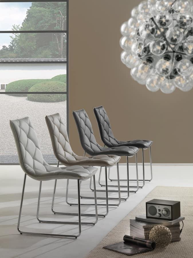 Sedia con base a slitta imbottita in ecopelle idfdesign for Design sedie moderne
