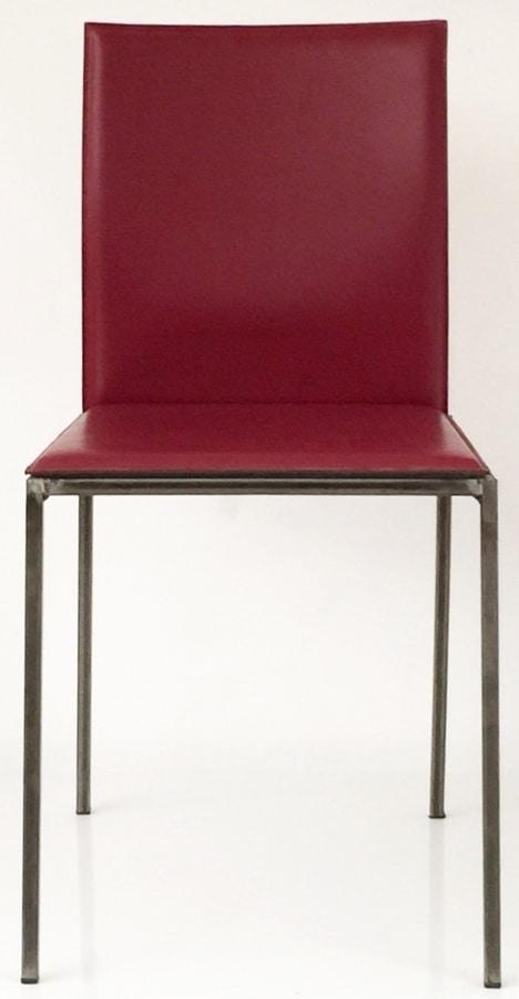 Art. 34/29, Raffinata sedia in metallo, rivestita in cuoio