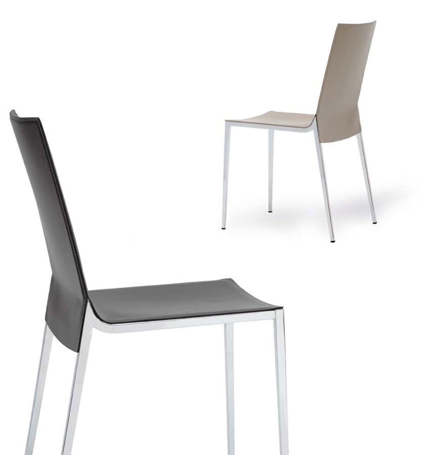 Sedia lineare con scocca in cuoio per uso contract for Sedia design minimal