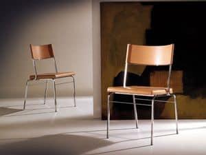 Chazuka chair, Sedia con struttura in acciaio, seduta in cuoio