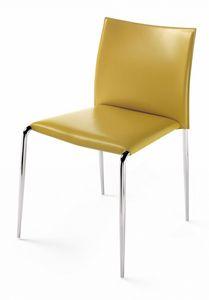 Gazzella sedia 10.0300, Sedia impilabile, in pelle