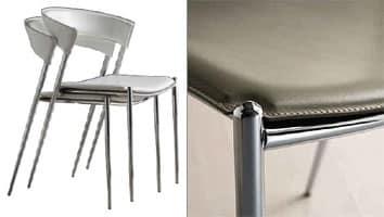 Sedia impilabile in metallo per ristorante e uso residenziale