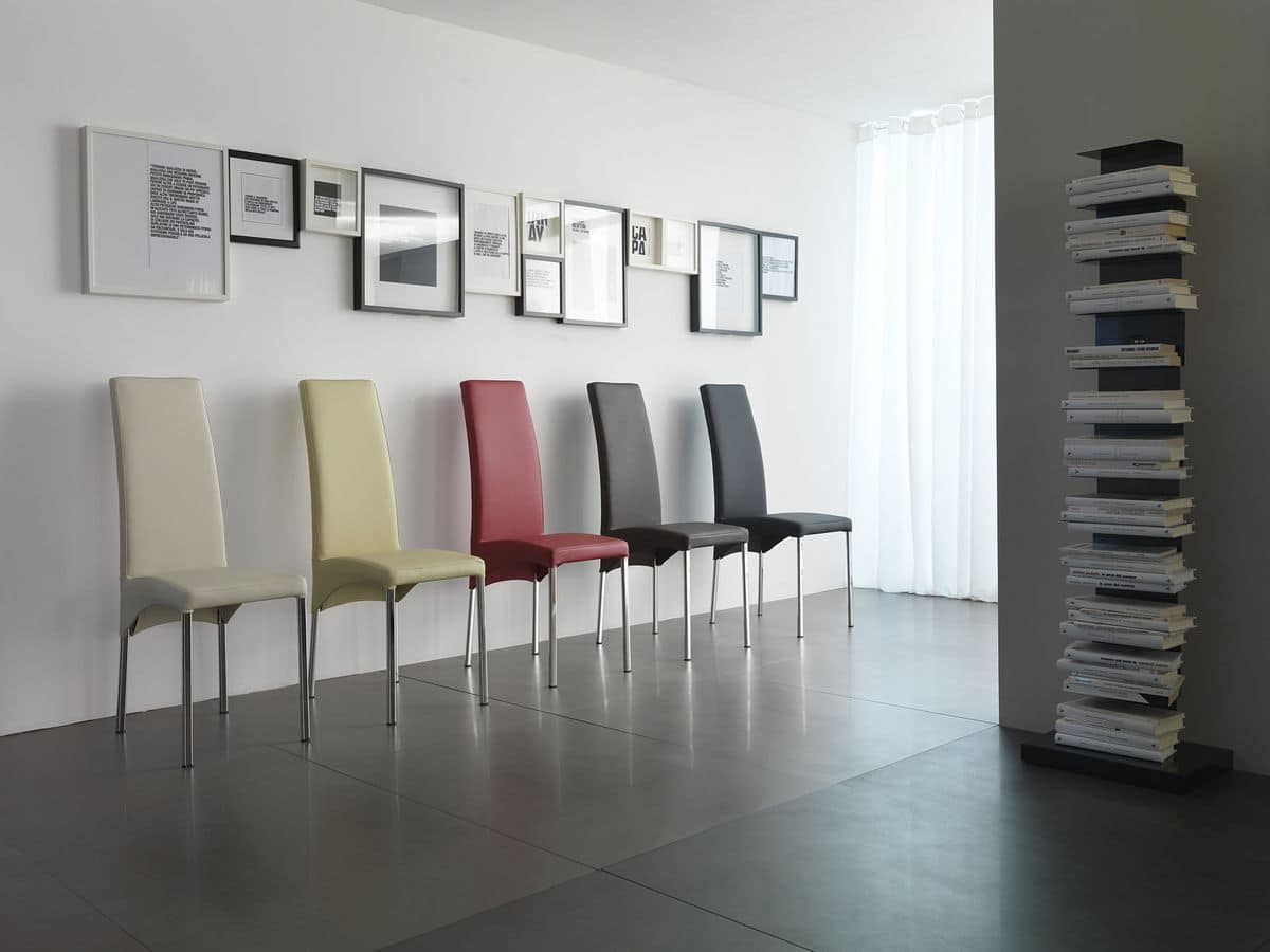 Masai, Elegante sedia, rivestimento in pelle, disponibile in molte colorazioni