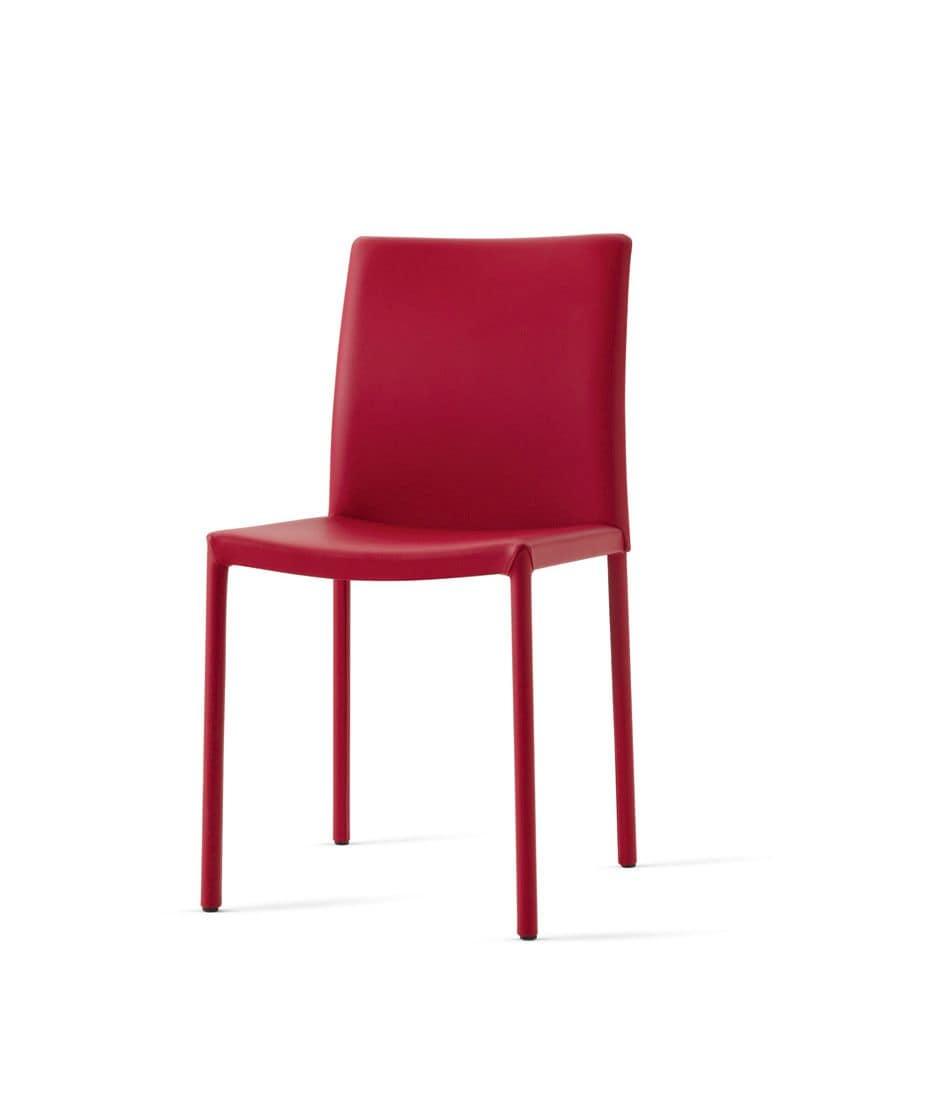 Sedia rivestita in pelle nisha chair for Sedie design in pelle