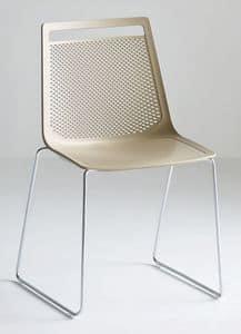 Akami S, Sedia con struttura a slitta in metallo, scocca in tecnopolimero