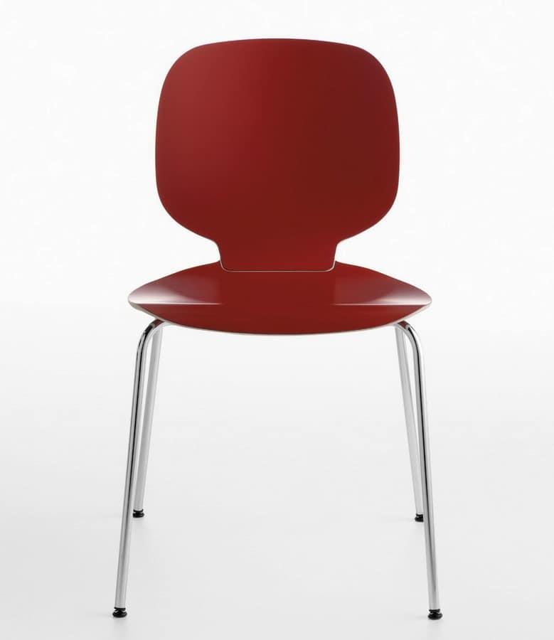 Sedia impilabile in acciaio e legno idfdesign for Sedie acciaio e legno