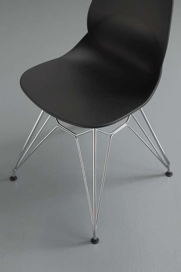 Art. 011 Eiffel, Sedia design in polipropilene con base in tondino
