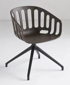 Basket Chair U, Sedia girevole con base in alluminio, seduta in polimero