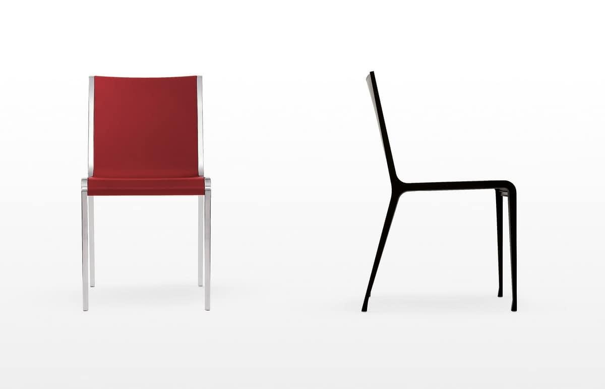 Sedie Alluminio Design.Sedia Sottile In Alluminio E Polipropilene Stampato Idfdesign