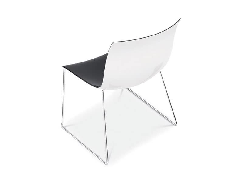 Sedie A Slitta Moderne.Sedia Design Con Base In Metallo A Slitta Scocca Bicolore Idfdesign