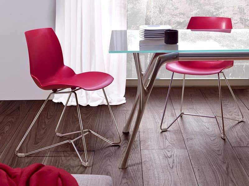 Sedie In Metallo E Plastica : Sedia in metallo e tecnopolimero riciclabile per ufficio idfdesign