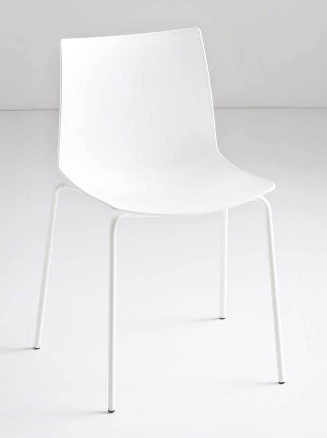 Kanvas NA, Sedia design con gambe in metallo, per uso contract