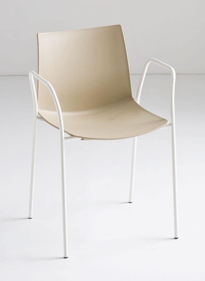 Sedia in metallo con braccioli per bar e ristoranti for Sedie design metallo