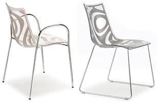 Wave sedia, Sedia design in metallo con seduta in tecnopolimero