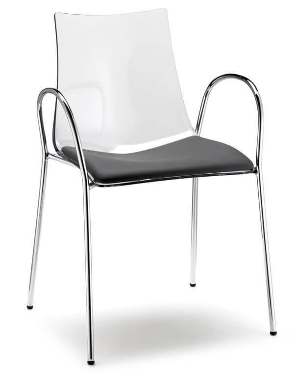 Zebra/P, Sedia impilabile con braccioli, in metallo e policarbonato