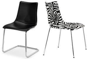 Zebra Pop, Sedia design imbottita con base a slitta, vari rivestimenti