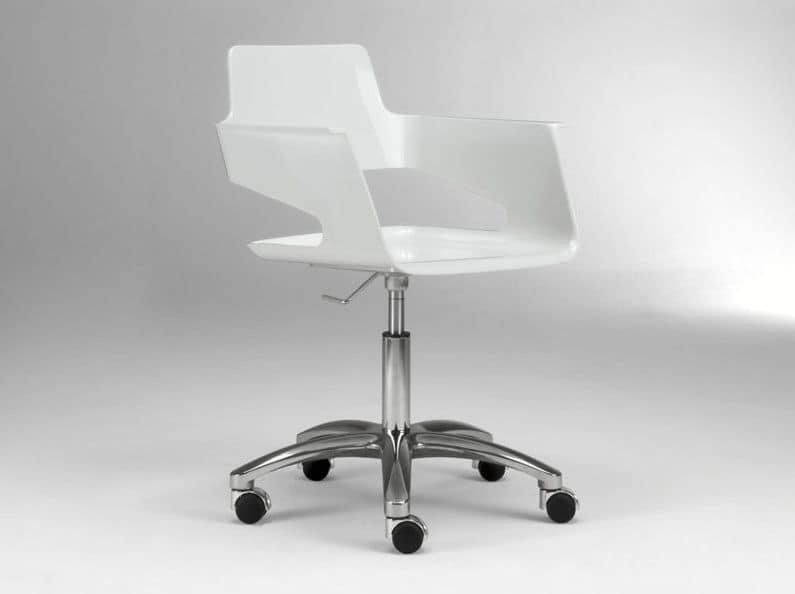 B32 office PRO, Sedia ufficio su ruote, scocca in nylon lucido, girevole e regolabile in altezza