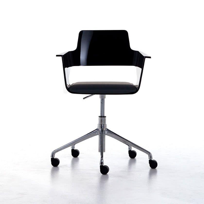 Sedia ufficio su ruote scocca in nylon lucido girevole e for Fenice design sedie ufficio