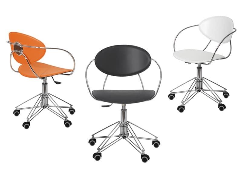 Sedia per ufficio con ruote scocca rivestita in cuoio for Sedie ufficio design milano