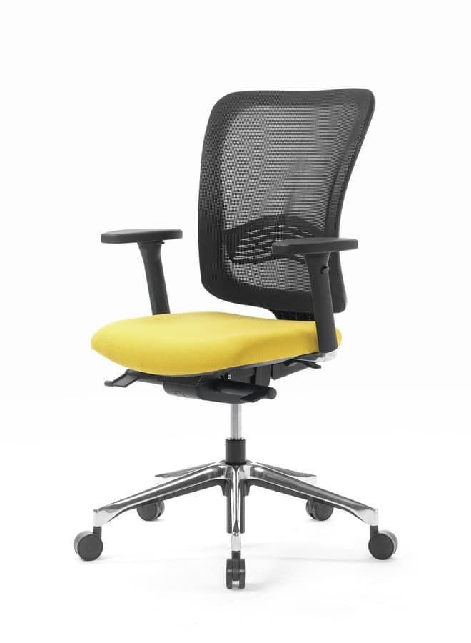 Sedia ufficio con schienale in rete e alzata a gas for Fenice design sedie ufficio