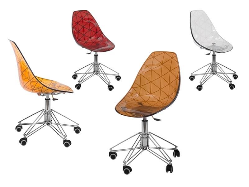 Sedia per ufficio girevole alzata a gas base in tondino for Design ufficio srl