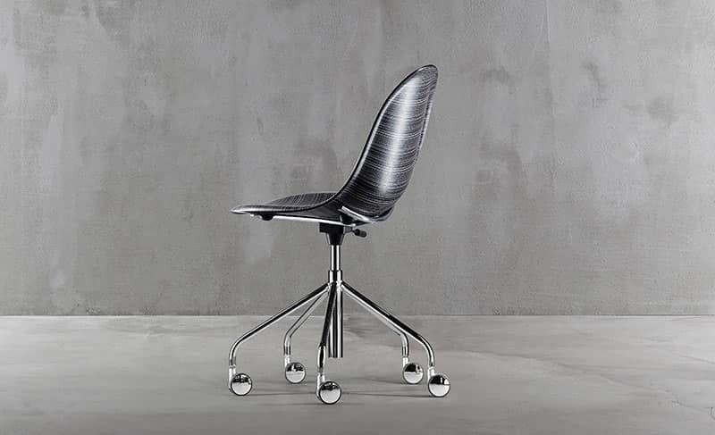 Luna mod. 1313-20, Sedia di alto design, girevole, per ufficio, con ruote
