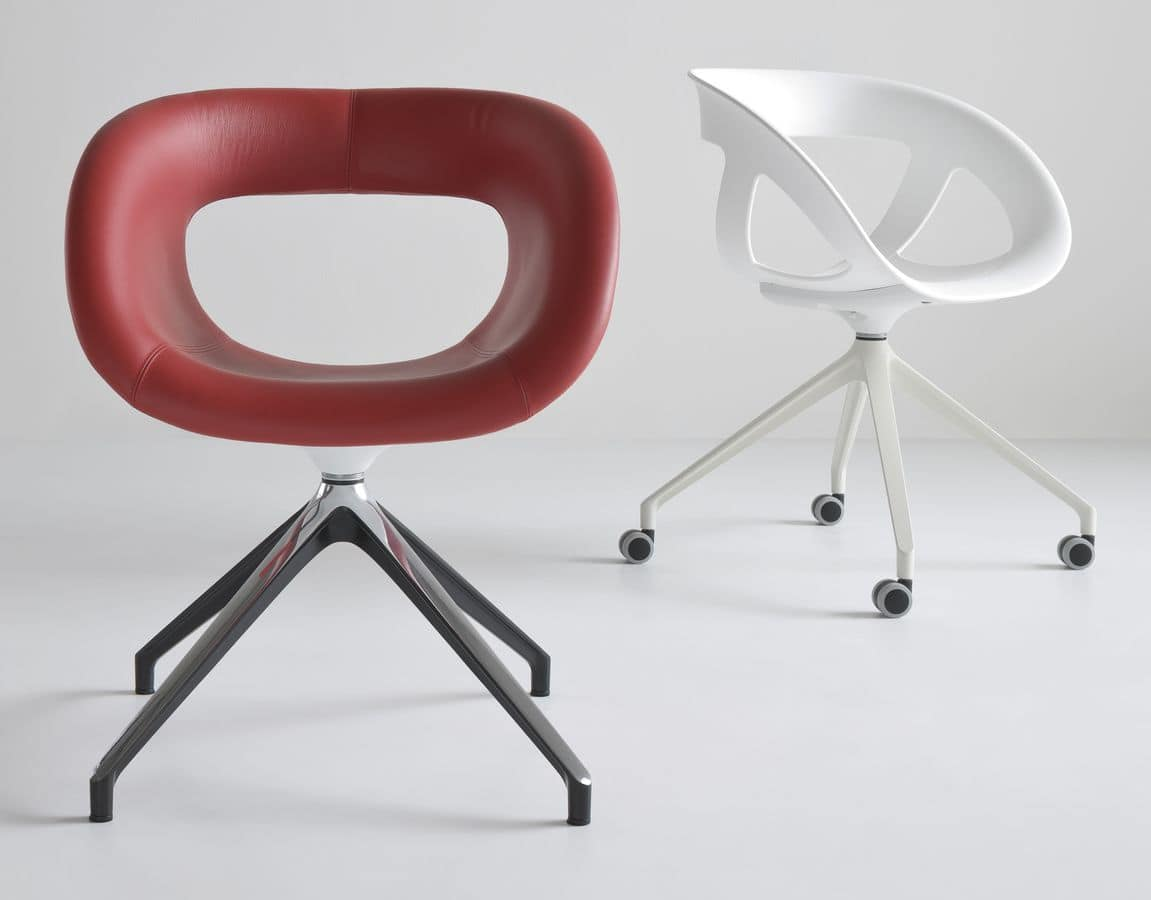 Sedia girevole per ufficio con 4 ruote idfdesign for Sedie ufficio design
